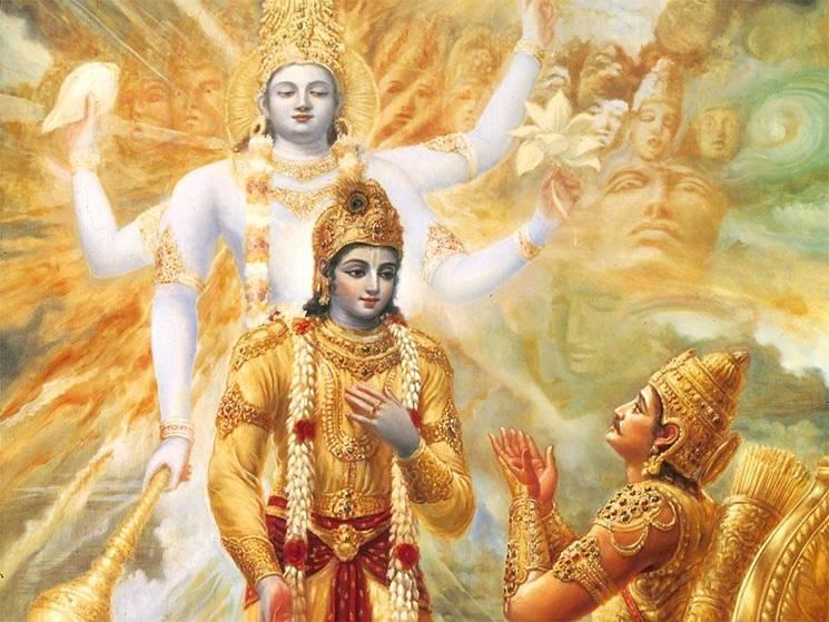 Krishna en Arjun op het slagveld van de Mahabharat