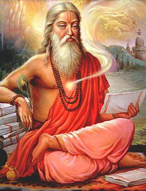 Guru aan het mediteren en schrijven