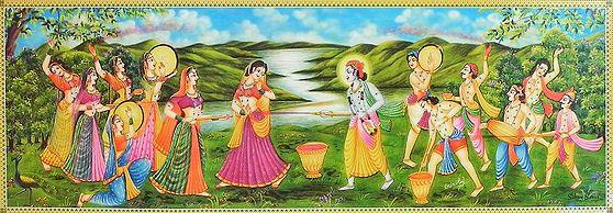 Radha en Krishna met de Gopis